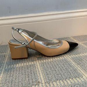 Zara Beige Black Toe Wrap Shoe